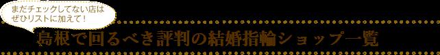 まだチェックしてない店はぜひリストに加えて!島根で回るべき評判の結婚指輪ショップ一覧
